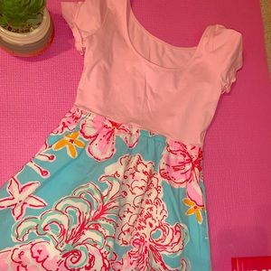 SOLID PINK AND PATTERNED SKIRT DRESS